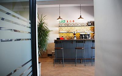 Passageway to coffee bar